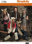 Simplicity 1795. Misses´, Men´s and Teens´ Animal Hats.