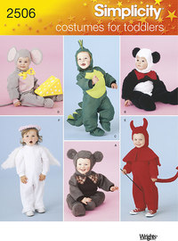 Toddler Costumes as devil, dragon, angel, bear. Simplicity 2506.