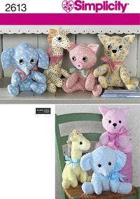 Two Pattern Piece Stuffed Animals. Simplicity 2613.