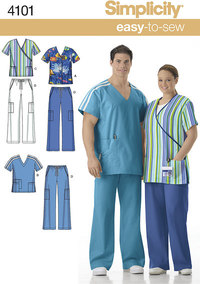 Unisex Uniform: Scrub Tops and Trousers. Simplicity 4101.
