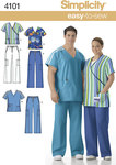 Simplicity 4101. Unisex Uniform: Scrub Tops and Trousers.