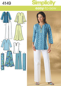 Plus Size Skirt, Trousers, Tunic Top and Scarf. Simplicity 4149.