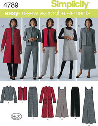 Plus Size Trousers, Vest, Jacket and Jumper. Simplicity 4789.