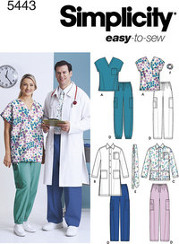 Women and Men Scrub Top, Jackets, Trousers, Tie and Hairband. Simplicity 5443.