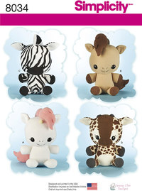 Animal Stuffies. Simplicity 8034.