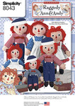 Simplicity 8043. Raggedy Ann and Andy Dolls.