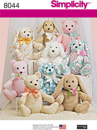 Two-Piece Stuffed Animals. Simplicity 8044.