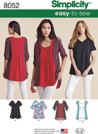 Misses Easy-to-Sew Tops. Simplicity 8052.