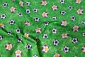 Green cotton with footbals / soccerballs