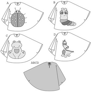 You don't even need a sewing machine to make this cape of vinyl fabric! Simply glue two pieces together at the shoulders. Then add various extras to turn the cape into a ladybug/ladybird, a caterpiller, a frog or a dragon... or use your imagination to create your own unique costume.