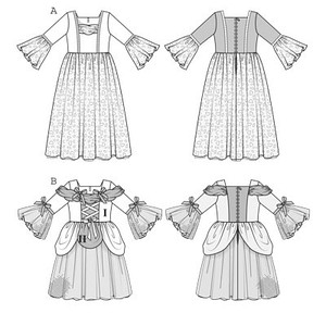 Costumes to delight all little girls! View A is an enchanting dress for your little princess – with gathered neck band, braid trim, and a long, double-layered skirt. View B is a calf-length dancing dress with gathered neck and shoulder bands, ribbons, and hip drapings. Both dresses have sleeve ruffles.