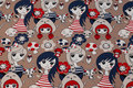 Beige cotton-jersey with girls in navy and red