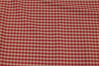Medium-thickness cotton and polyester in beige and dark red checks