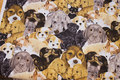 Patchwork-cotton with cute dog heads