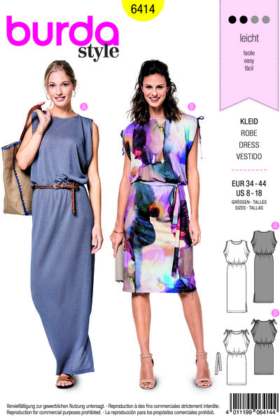 Dress without sleeves, waistband