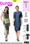 Burda 6418. Dress with and without sleeves or slit.