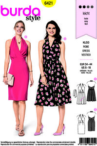 Burda pattern: Beautiful dress with v-neck and wrap effect