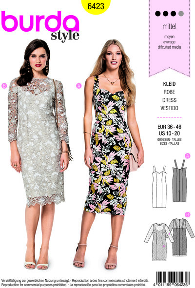 Dress in slim design with straps or sleeves