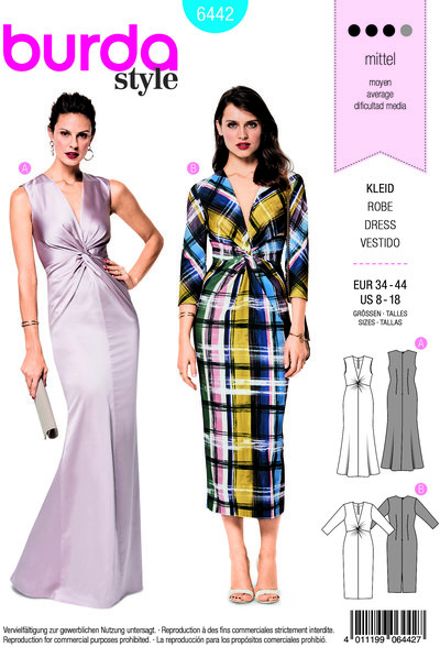 Evening dresses with v-neck and front-wrap