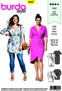 Burda 6447. Dress with wrap effekt.