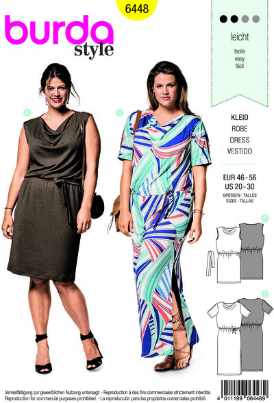 Dress with swung neckline and waistband