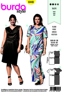 Burda 6448. Dress with swung neckline and waistband.
