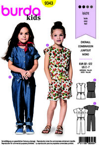 Burda pattern: Jumpsuit with and without sleeves, short and long