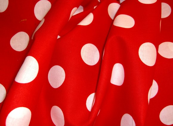 Red cotton with white dots