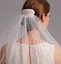 """Package includes patterns and instructions for headpiece A. Tiara B. Veil C: approximately 46"""" long, blusher veil. Veil D: approximately 54"""" long. Veil E: approximately 47"""" long. Veil F: approximately 66"""" long. All views have attached comb. NOTIONS: Headpiece A: One 21/2"""" Comb, Wire, First Aid Tape, Needle Nose Pliers, 1/2 yd. of 3/4"""" Lace Trim, 1/2 yd. of 2mm Pearls By the Yard, Sequins, 2mm Pearls, Quilting Thread and Bridal Glue. Tiara B: Purchased Tiara Frame, Two 1"""" Combs, Needle Nose Pliers, Wire Cutter, First Aid Tape, 1 yd. of 2mm Pearls By the Yard, Sequins, Sew-on Rhinestones, 2mm Pearls, Silver Seed Beads, Quilting Thread, 1/8 yd. of Bridal Elastic Button Loop and Bridal Glue. Veil C: One 3"""" Comb, 63/4 yds. of 1/8"""" Soutache Braid, 1/8 yd. of 1"""" Organza Ribbon, Quilting Thread and Invisible Thread. Veil D: One 3"""" Comb and 61/4 yds. of 3/4"""" Lace Trim. Veil E: One 3"""" Comb, 1/8 yd. of 1"""" Organza Ribbon, 11/2 yds. of 1/8"""" Soutache Braid, 21/2 yds. of 21/4"""" Lace Trim, Bridal Glue, Quilting Thread and Invisible Thread. Veil F: One 41/2"""" Comb, 1 yd. of 3"""" Bridal Lace, 1/4 yd. of 1"""" Organza Ribbon, 47/8 yds. of 2mm Pearls By the Yard, Quilting Thread and Invisible Thread."""