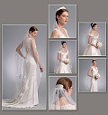 "Package includes patterns and instructions for headpiece A. Tiara B. Veil C: approximately 46"" long, blusher veil. Veil D: approximately 54"" long. Veil E: approximately 47"" long. Veil F: approximately 66"" long. All views have attached comb.