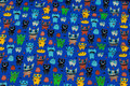 Cobolt-blue cotton-jersey with small monsters