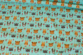 Mint-green cotton-jersey with small 2 cm animal heads