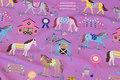 Light-purple cotton-jersey with 8 cm horses
