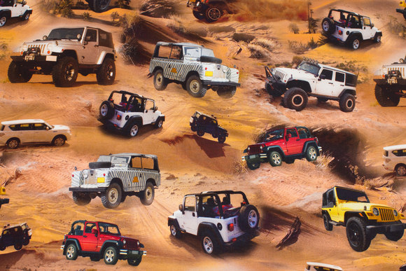 Cotton-jersey with jeeps in sand