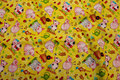 Yellow cotton with cute pigs for patchwork