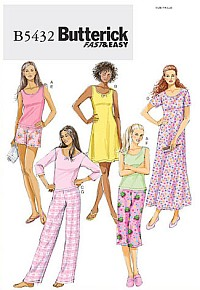 Butterick pattern: Petite top, gown, shorts and pants
