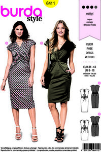 Dress with crossbind in front. Burda 6411.