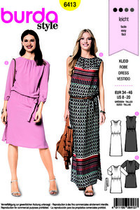 Dresses with waistband, round neck. Burda 6413.