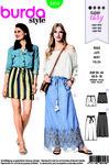 Burda 6416. Skirt with tied waist.