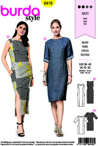 Dress with and without sleeves or slit. Burda 6418.