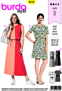 Dress, round neck, with or without sleeves. Burda 6419.
