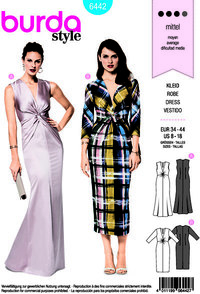 Evening dresses with v-neck and front-wrap. Burda 6442.