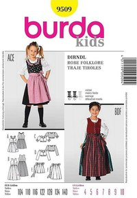 Dirndl, folklore dress. Burda 9509.