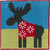 Moose, kids embroidery. Permin 9240.