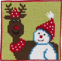 Reindeer and snowman, kids embroidery. Permin 9241.