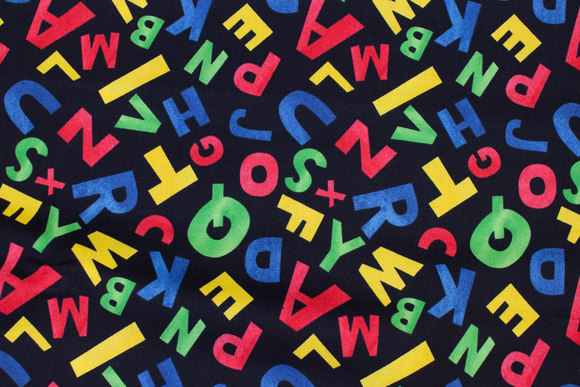 Black patchwork-cotton with colorful letters