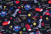 Black patchwork-cotton with school motifs