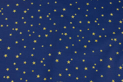 Blue cotton with ca. 1 cm gold stars