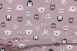 Dusty old rose cotton-jersey with ca. 25 mm animal-heads