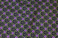 Eggplant-colored patchwork-cotton with purple flowers.